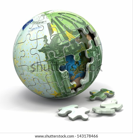 Euro sphere from puzzle. Conceptual image. 3d Elements of this image furnished by NASA
