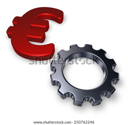 euro symbol and gear wheel on white background - 3d illustration - stock photo