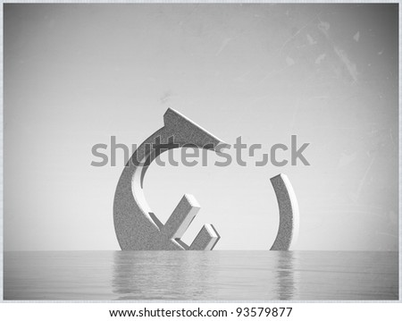 euro symbol in old picture frame - stock photo