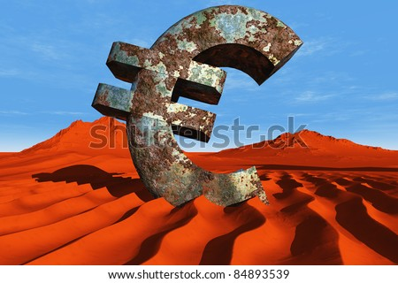 Euro symbol in the desert.
