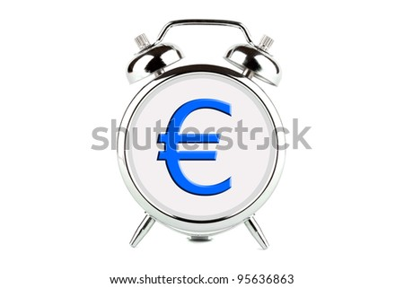 Euro symbol on a alarm clock face on the white background - stock photo