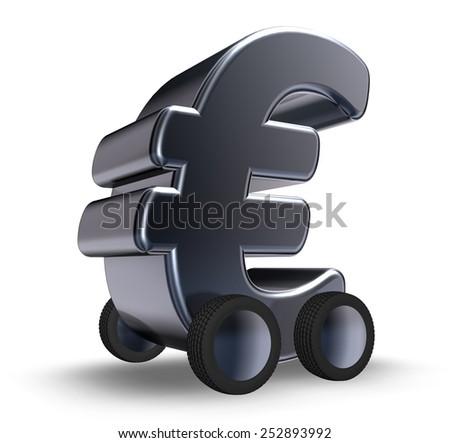 euro symbol on wheels - 3d illustration - stock photo