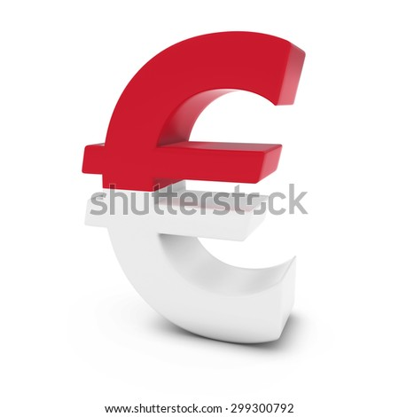 Euro Symbol textured with the Flag of Monaco Isolated on White Background