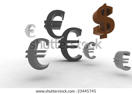 euro symbol with dollar - 3d isolated illustration