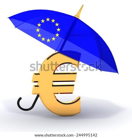 Euro symbol with umbrella - stock photo