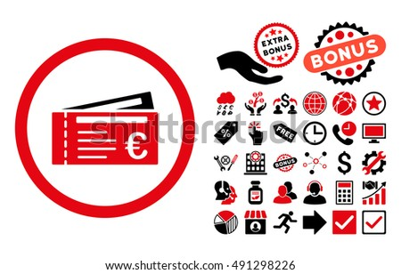 Euro Tickets pictograph with bonus images. Glyph illustration style is flat iconic bicolor symbols, intensive red and black colors, white background.