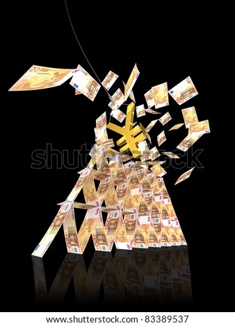 euro tower collapse from yen symbol strike on black background - stock photo
