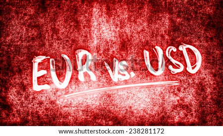Euro versus US Dollar - red - stock photo