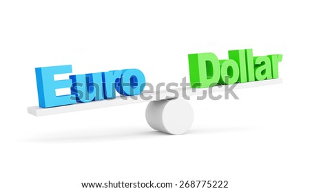 Euro vs Dollar concept. Euro wins. Euro and Dollar on scales isolated on white background - stock photo