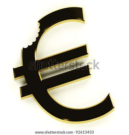 Euro With Bite Showing Devaluation Economic Crisis And Recessions - stock photo