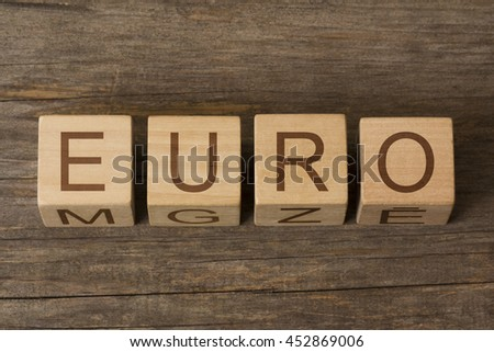 EURO word on wooden cubes - stock photo