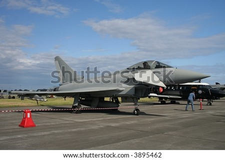 Eurofighter parked at an airshow - stock photo