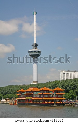 Euromast Rotterdam (the Netherlands) - stock photo