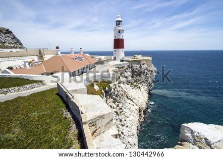 Europa Point Lighthouse in Gibraltar near Spain - stock photo