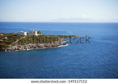 Europe, Albania, Mediterranean Sea, Jale beach peninsular - stock photo