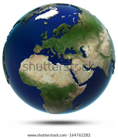 Europe and Africa. Elements of this image furnished by NASA - stock photo