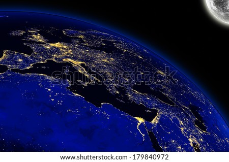 Europe And North Africa City Lights. Maps From NASA Imagery - stock photo