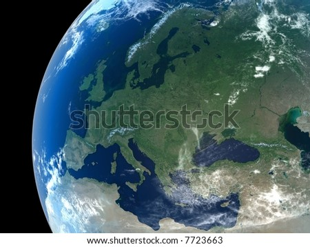 Europe as seen from space with cloud formations - stock photo