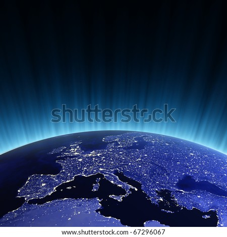 Europe at night. Maps from NASA imagery - stock photo