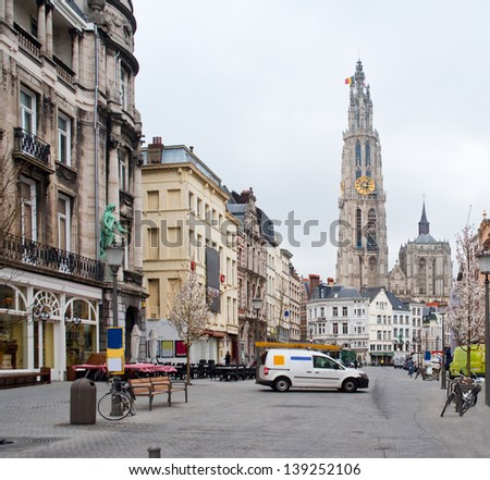 Europe, Belgium. Antwerp. View of the Cathedral of the Sacred Mother of God. - stock photo