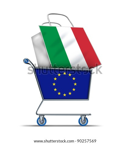 Europe buying Italian debt with a shopping cart as a European concept and a shopping bag with a flag of Italy as an economic trading idea of the Italian financial health as an emergency  ballot,. - stock photo