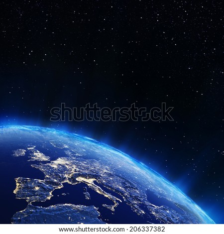 Europe city lights. Elements of this image furnished by NASA - stock photo