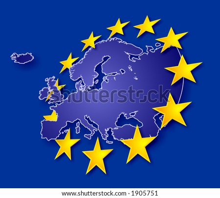 Europe continent with EU stars, symbolic illustration of European Union (land contour cross through the stars) - stock photo
