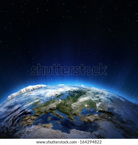 Europe cyclone. Elements of this image furnished by NASA - stock photo