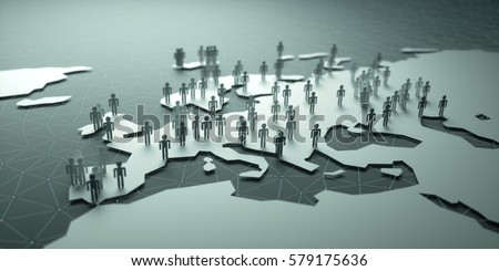Europe. 3D illustration of people on the map, representing the country's demography.