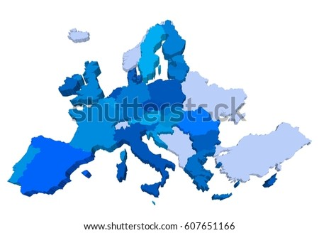 Italy map 3d stock images royalty free images vectors europe extruded 3d map in perspective highly detailed illustration with countries of different heights and gumiabroncs Choice Image