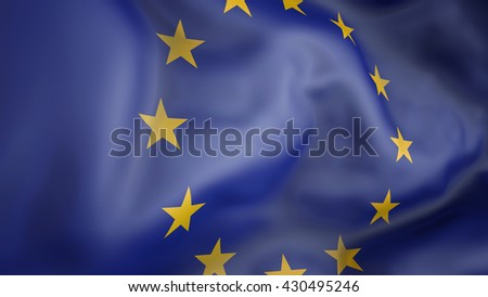 Europe flag waving in the wind 3d rendering - stock photo