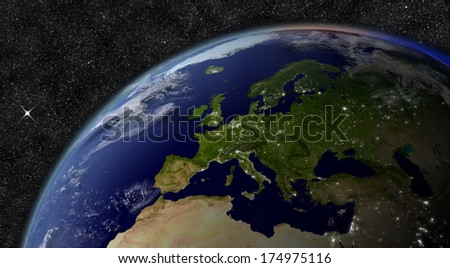 Europe from space. Elements of this image furnished by NASA.