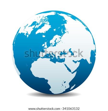 Europe Global World - Raster Version - stock photo
