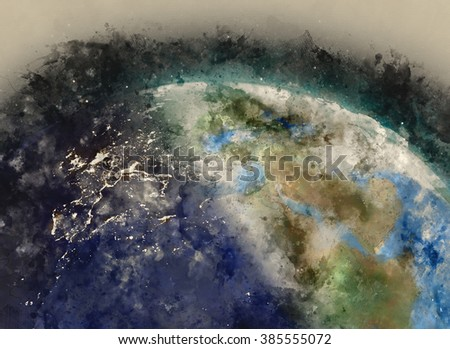 Europe globe water painting on paper illustration (Public domain reference image furnished by NASA)