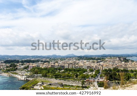 Europe, Greece. Island of Corfu. A view of the city of Corfu from old fortress