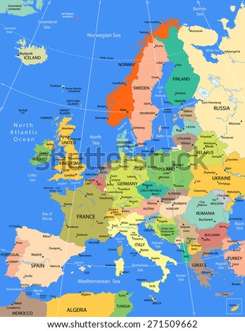 Europe highly detailed political map. Raster illustration. - stock photo