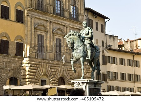 Europe, Italy, Florence.  The equestrian monument to Cosimo I de' Medici on the Piazza della Signoria in Florence, was sculpted by Giambologna.