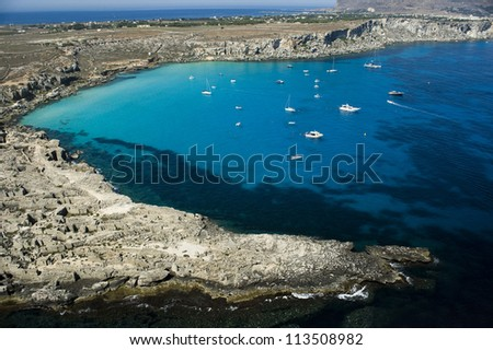 Europe, Italy, Sicily, Cala Rossa bay in Favignana, Trapani - stock photo