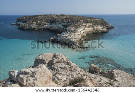 europe, italy, sicily, lampedusa, rabbit island beach - stock photo
