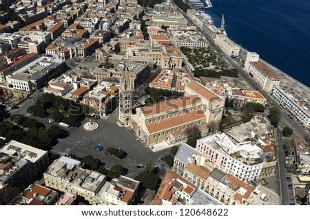 europe, italy, sicily, messina middletown from above - stock photo