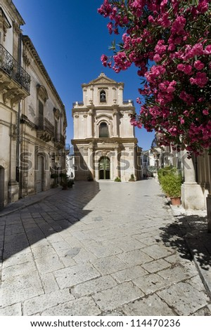 europe, italy, sicily, old baroque street