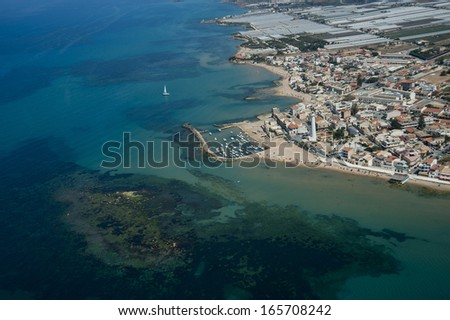 europe, italy, sicily, ragusa, punta secca from above - stock photo
