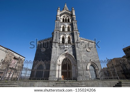 europe, italy, sicily, randazzo, Gothic style Church - stock photo