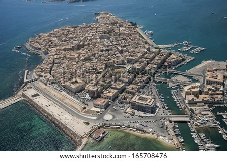 europe, italy, sicily, siracusa, ortigia island from above