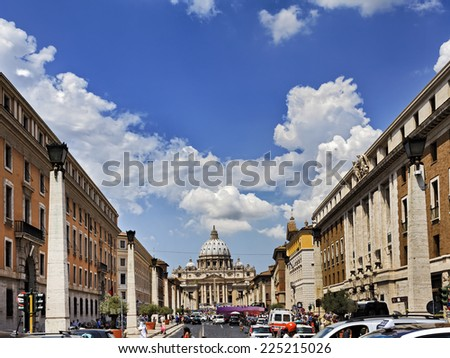 Europe Italy Vatican main cathedral of christianity distant view among rome street with lamps of stone columns and surrounding buildings - stock photo