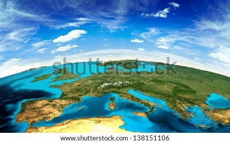 Europe landscape from space. Elements of this image furnished by NASA - stock photo