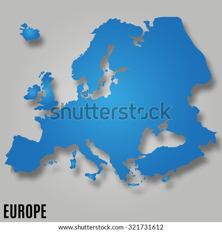 EUROPE MAP continent wit shadow illustration - stock photo