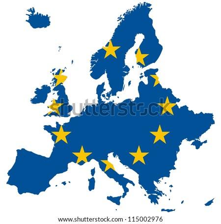 Europe Map (European Union Flag) - stock photo