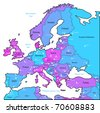 Europe map of blue, pink, violet colors. Raster version. Vector version is also available. - stock photo