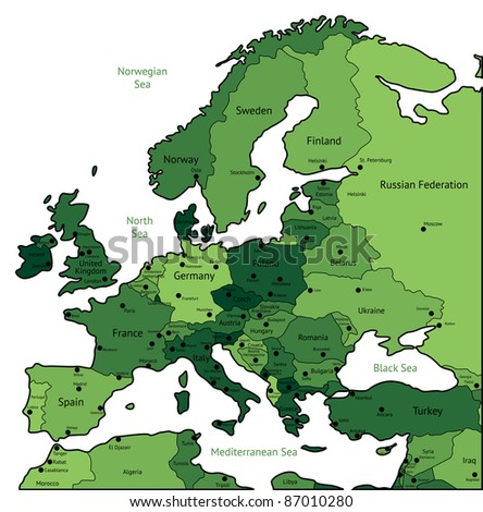 Europe map of green colors. Raster version. Vector version is also available. - stock photo